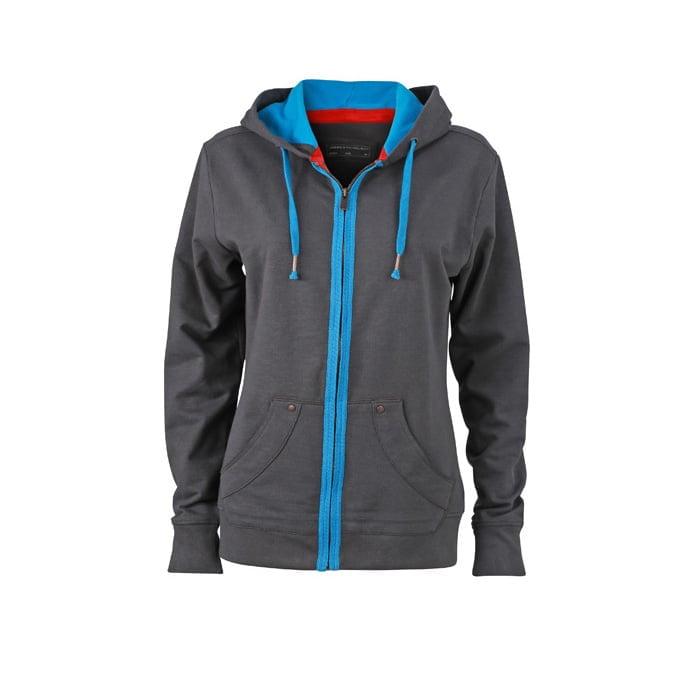 Bluzy - Damska bluza z kapturem Urban Hooded - James & Nicholson JN981 - RAVEN - koszulki reklamowe z nadrukiem, odzież reklamowa i gastronomiczna