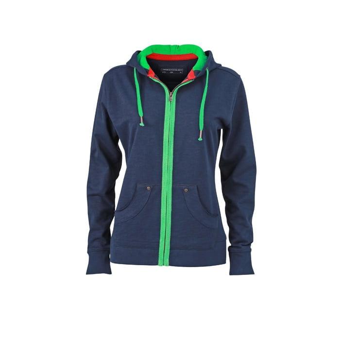 Bluzy - Damska bluza z kapturem Urban Hooded - James & Nicholson JN981 - Graphite (Solid)Navy - RAVEN - koszulki reklamowe z nadrukiem, odzież reklamowa i gastronomiczna