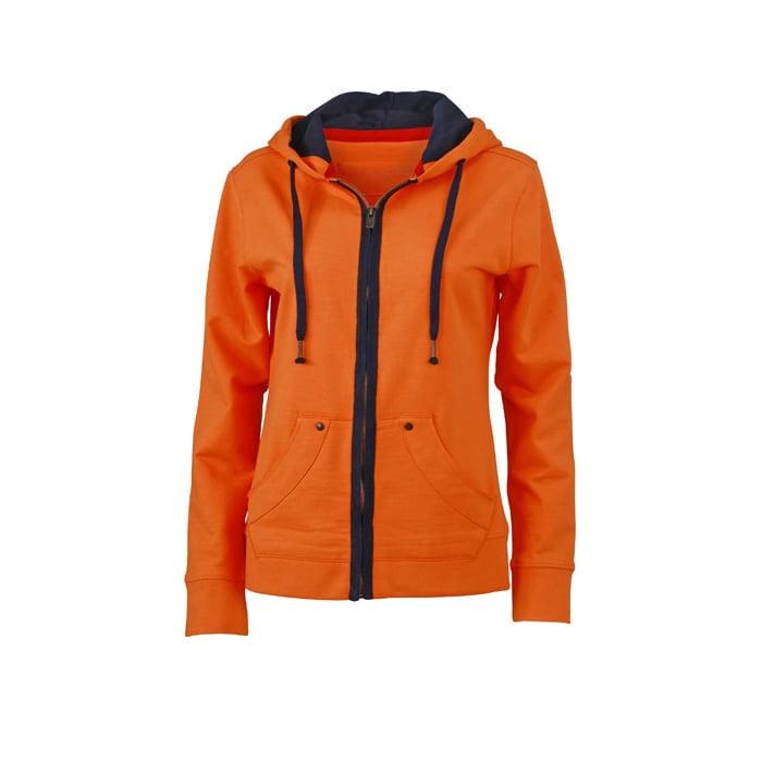Bluzy - Damska bluza z kapturem Urban Hooded - James & Nicholson JN981 - Orange - RAVEN - koszulki reklamowe z nadrukiem, odzież reklamowa i gastronomiczna