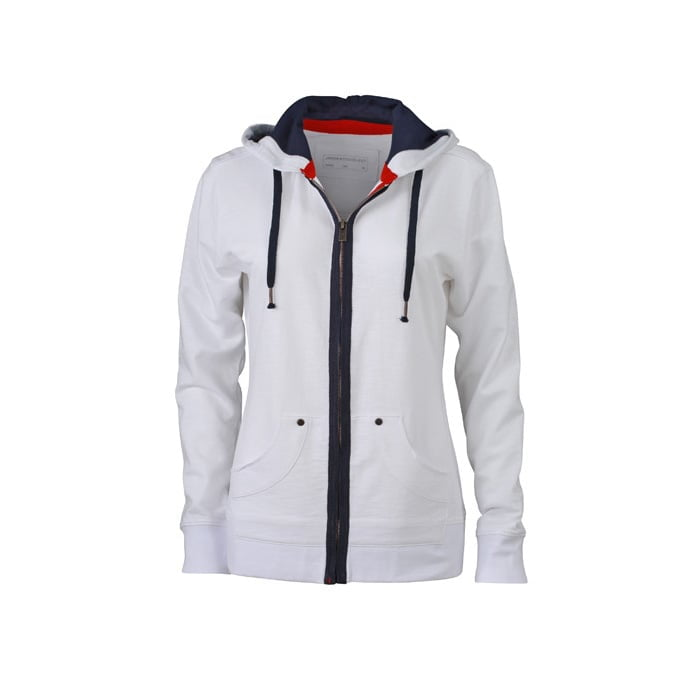 Bluzy - Damska bluza z kapturem Urban Hooded - James & Nicholson JN981 - White - RAVEN - koszulki reklamowe z nadrukiem, odzież reklamowa i gastronomiczna