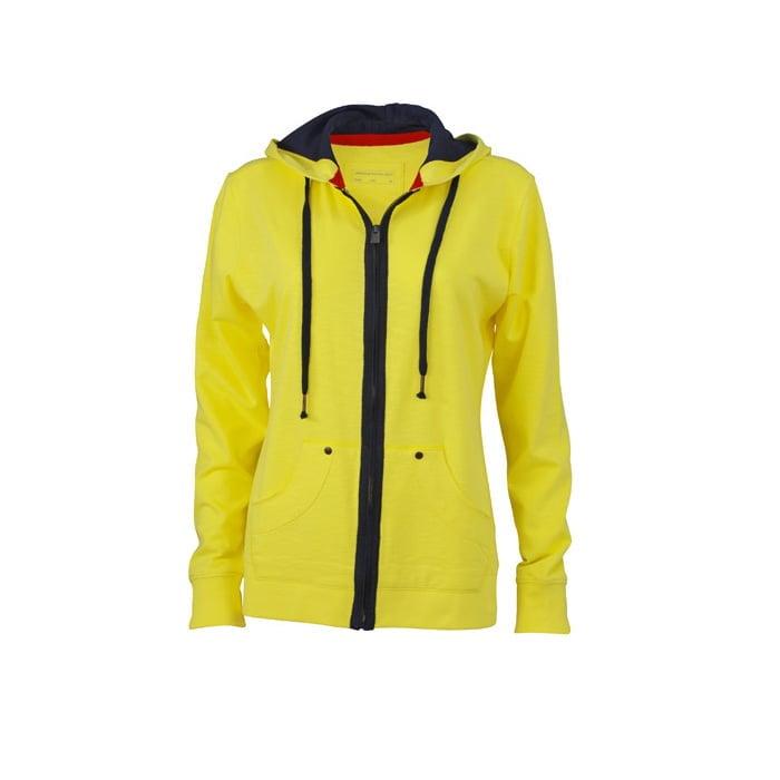 Bluzy - Damska bluza z kapturem Urban Hooded - James & Nicholson JN981 - Yellow - RAVEN - koszulki reklamowe z nadrukiem, odzież reklamowa i gastronomiczna