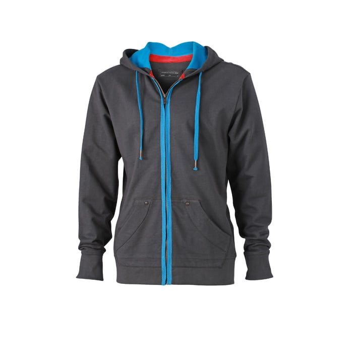 Bluzy - Męska bluza z kapturem Urban Hooded - James & Nicholson JN982 - Graphite (Solid) - RAVEN - koszulki reklamowe z nadrukiem, odzież reklamowa i gastronomiczna