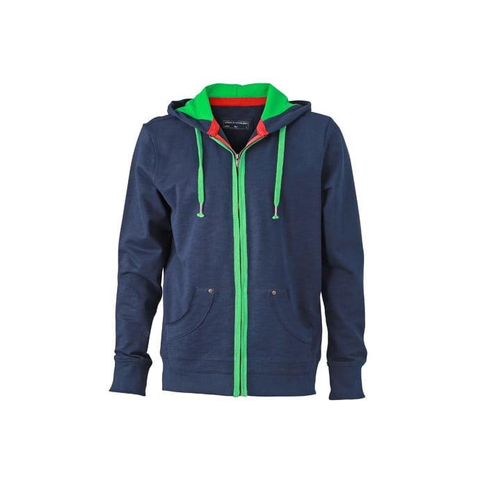 Bluzy - Męska bluza z kapturem Urban Hooded - James & Nicholson JN982 - Navy - RAVEN - koszulki reklamowe z nadrukiem, odzież reklamowa i gastronomiczna