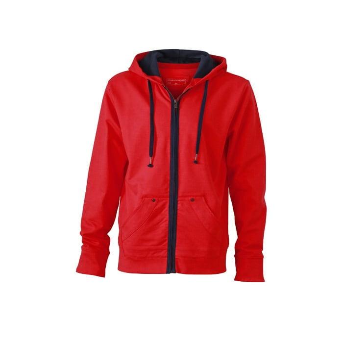 Bluzy - Męska bluza z kapturem Urban Hooded - James & Nicholson JN982 - Tomato - RAVEN - koszulki reklamowe z nadrukiem, odzież reklamowa i gastronomiczna