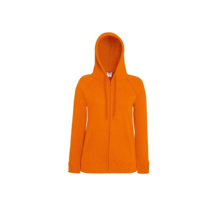 Bluzy - Damska bluza z zamkiem Lady-Fit - Fruit of the Loom 62-150-0 - Orange - RAVEN - koszulki reklamowe z nadrukiem, odzież reklamowa i gastronomiczna