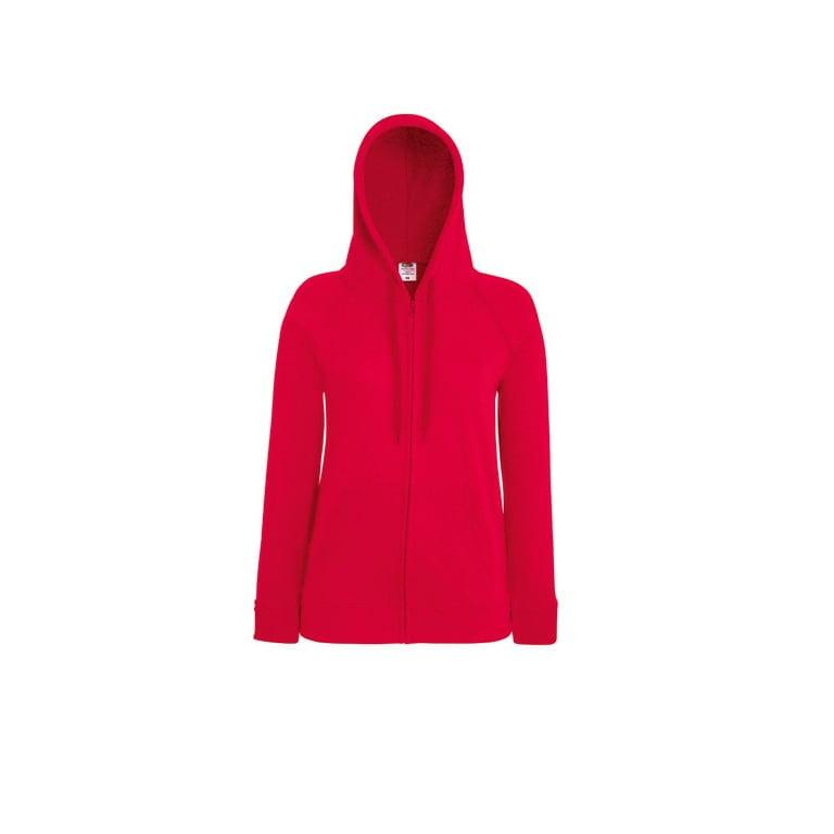 Bluzy - Damska bluza z zamkiem Lady-Fit - Fruit of the Loom 62-150-0 - Red - RAVEN - koszulki reklamowe z nadrukiem, odzież reklamowa i gastronomiczna