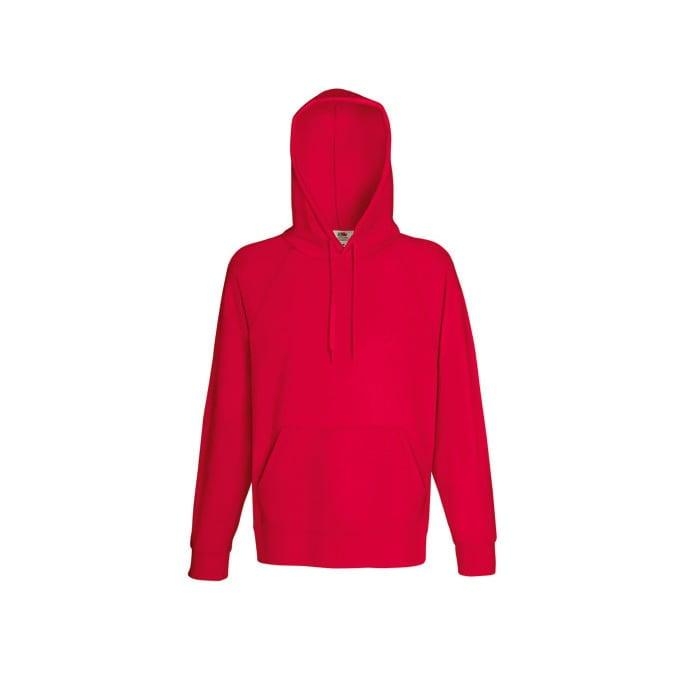 Bluzy - Bluza z kapturem Lightweight - Fruit of the Loom 62-140-0 - Red - RAVEN - koszulki reklamowe z nadrukiem, odzież reklamowa i gastronomiczna