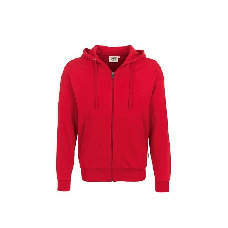Bluzy - Bluza Premium rozpinana z kapturem 605 - Hakro 605 - Red - RAVEN - koszulki reklamowe z nadrukiem, odzież reklamowa i gastronomiczna