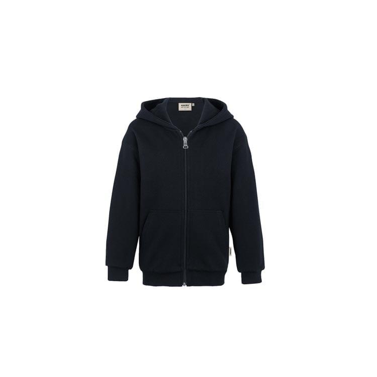 Bluzy - Dziecięca bluza Premium rozpinana z kapturem 620 - Hakro 620 - Black - RAVEN - koszulki reklamowe z nadrukiem, odzież reklamowa i gastronomiczna
