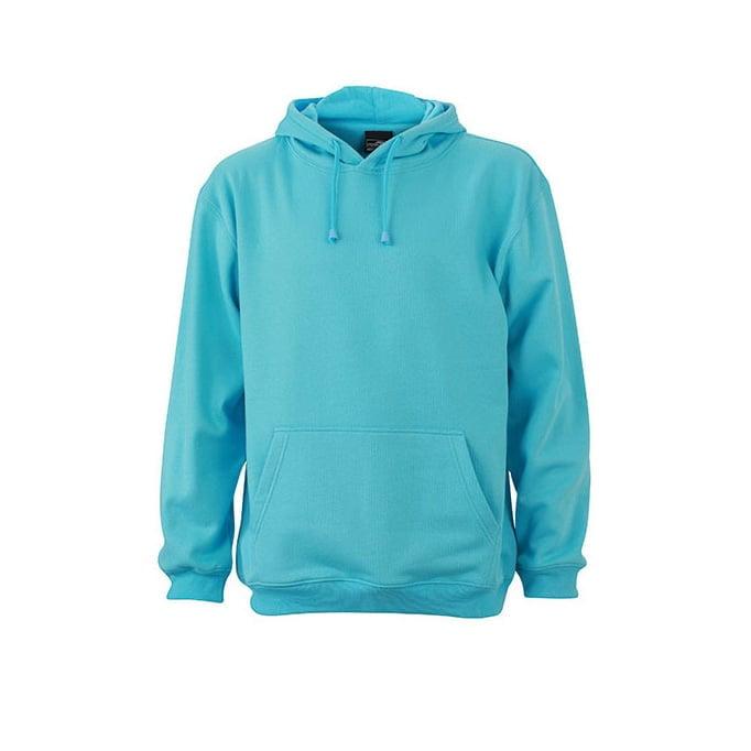 Bluzy - Męska bluza bez zamka Hooded Jacket - James & Nicholson JN047 - Turquoise - RAVEN - koszulki reklamowe z nadrukiem, odzież reklamowa i gastronomiczna