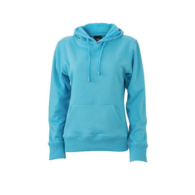 Bluzy - Damska bluza bez zamka Hooded Jacket - James & Nicholson JN051 - Pacific - RAVEN - koszulki reklamowe z nadrukiem, odzież reklamowa i gastronomiczna