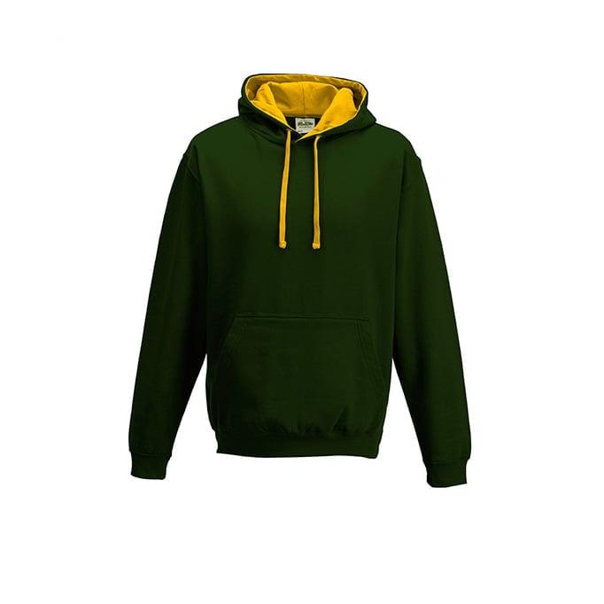 Bluzy - Bluza z kapturem Varsity Hoodie - Just Hoods JH003 - Forest Green/Gold - RAVEN - koszulki reklamowe z nadrukiem, odzież reklamowa i gastronomiczna