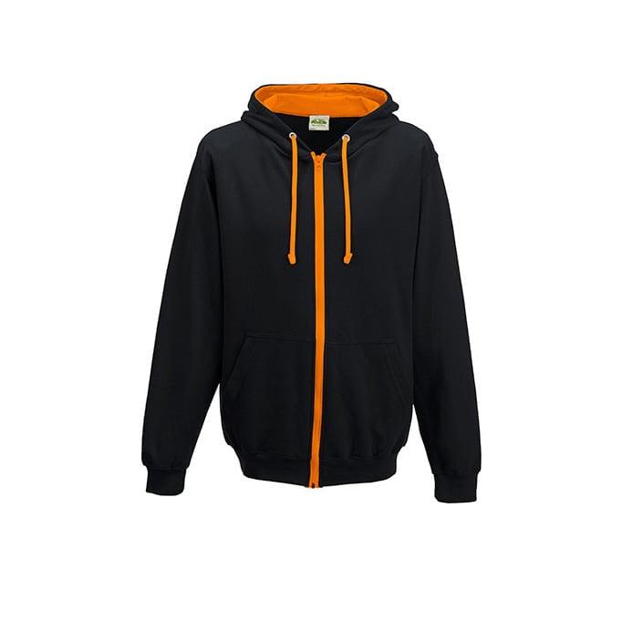 Bluzy - Bluza dwukolorowa Varsity Zoodie - Just Hoods JH053 - Jet Black/Orange Crush - RAVEN - koszulki reklamowe z nadrukiem, odzież reklamowa i gastronomiczna