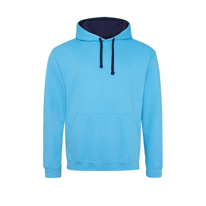 Bluzy - Bluza z kapturem Varsity Hoodie - Just Hoods JH003 - Hawaiian Blue/Oxford Navy - RAVEN - koszulki reklamowe z nadrukiem, odzież reklamowa i gastronomiczna
