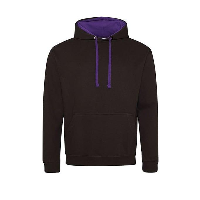 Bluzy - Bluza z kapturem Varsity Hoodie - Just Hoods JH003 - Jet Black/Purple - RAVEN - koszulki reklamowe z nadrukiem, odzież reklamowa i gastronomiczna