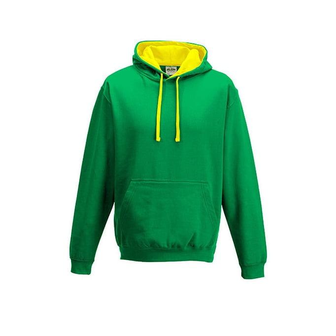Bluzy - Bluza z kapturem Varsity Hoodie - Just Hoods JH003 - Kelly Green/Sun Yellow - RAVEN - koszulki reklamowe z nadrukiem, odzież reklamowa i gastronomiczna