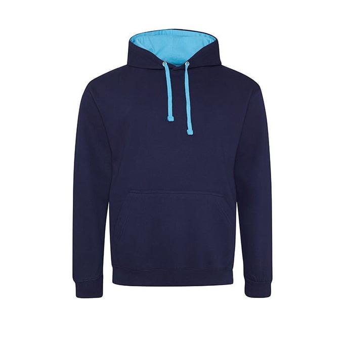 Bluzy - Bluza z kapturem Varsity Hoodie - Just Hoods JH003 - Oxford Navy/ Hawaiian Blue - RAVEN - koszulki reklamowe z nadrukiem, odzież reklamowa i gastronomiczna