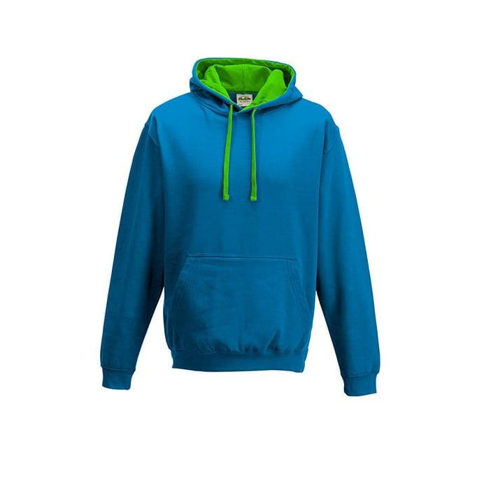 Bluzy - Bluza z kapturem Varsity Hoodie - Just Hoods JH003 - Sapphire Blue/Lime Blue - RAVEN - koszulki reklamowe z nadrukiem, odzież reklamowa i gastronomiczna