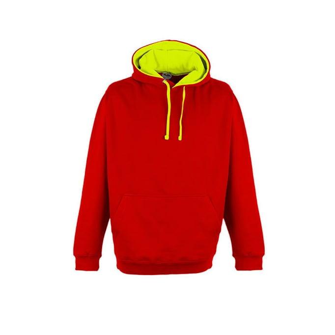Bluzy - Bluza z kapturem Superbright - Just Hoods JH013 - Fire Red/Electric Yellow - RAVEN - koszulki reklamowe z nadrukiem, odzież reklamowa i gastronomiczna