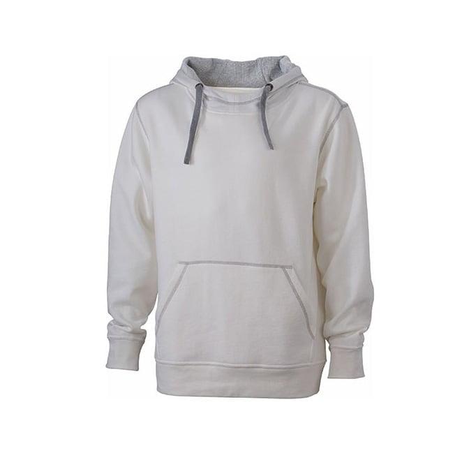 Bluzy - Męska bluza bez zamka Lifestyle - James & Nicholson JN961 - White - RAVEN - koszulki reklamowe z nadrukiem, odzież reklamowa i gastronomiczna