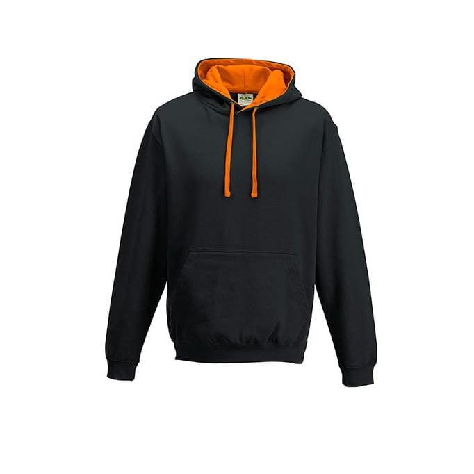 Bluzy - Bluza z kapturem Varsity Hoodie - Just Hoods JH003 - Jet Black/Orange Crush - RAVEN - koszulki reklamowe z nadrukiem, odzież reklamowa i gastronomiczna