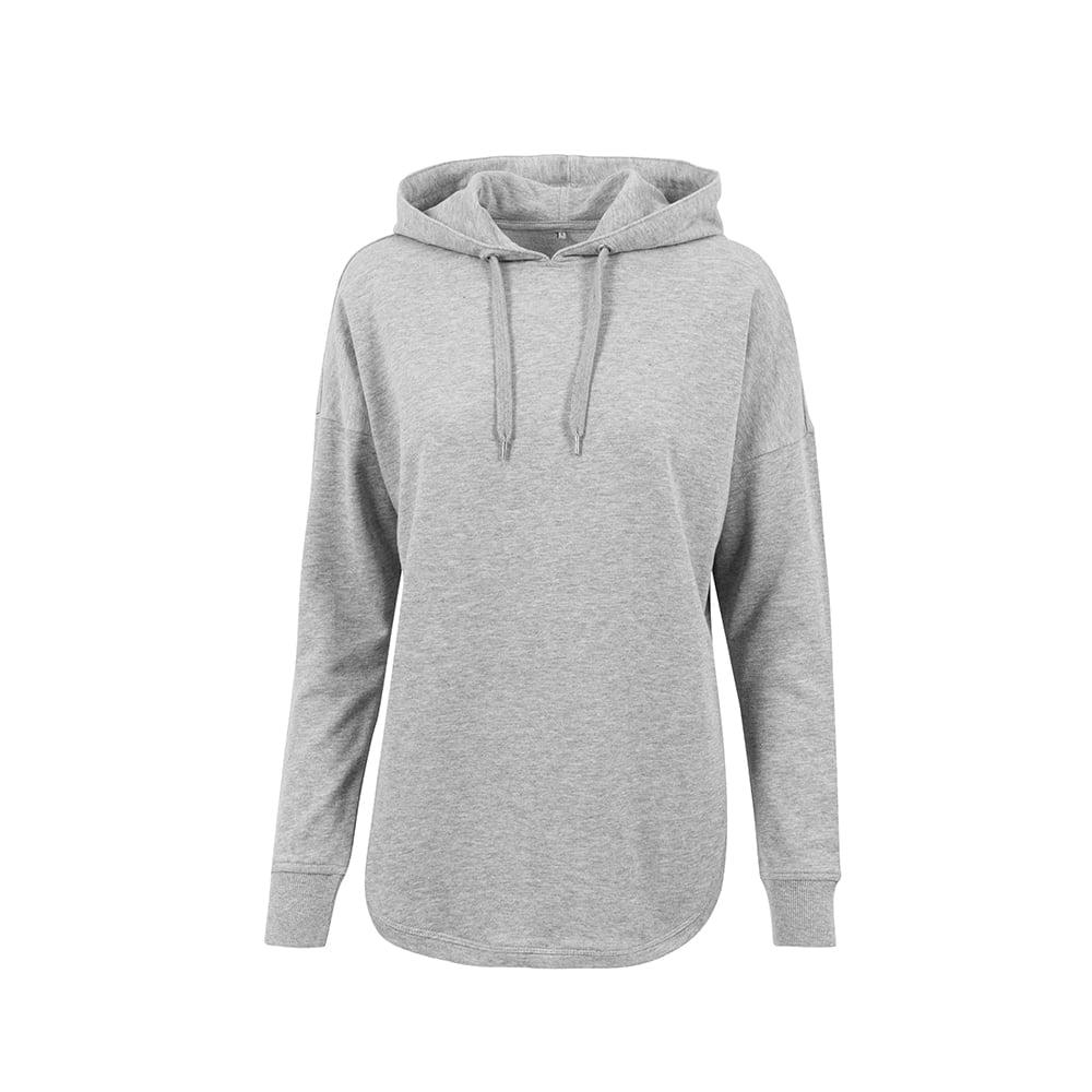Bluzy - Damska bluza z kapturem Oversized Hoody - Build your Brand BY037 - Grey - RAVEN - koszulki reklamowe z nadrukiem, odzież reklamowa i gastronomiczna