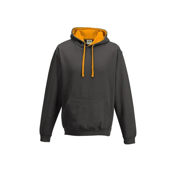 Bluzy - Bluza z kapturem Varsity Hoodie - Just Hoods JH003 - Charcoal/Orange Crush - RAVEN - koszulki reklamowe z nadrukiem, odzież reklamowa i gastronomiczna