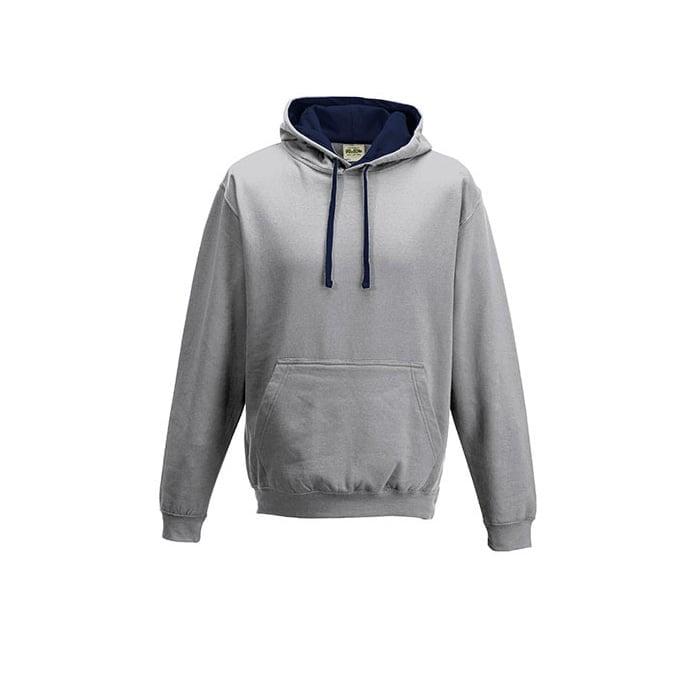 Bluzy - Bluza z kapturem Varsity Hoodie - Just Hoods JH003 - Heather Grey/French Navy - RAVEN - koszulki reklamowe z nadrukiem, odzież reklamowa i gastronomiczna