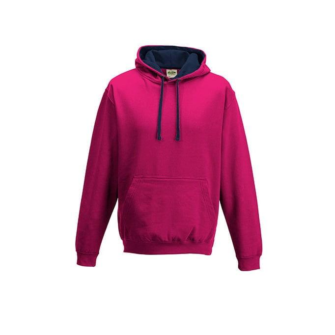 Bluzy - Bluza z kapturem Varsity Hoodie - Just Hoods JH003 - Hot Pink/French Navy - RAVEN - koszulki reklamowe z nadrukiem, odzież reklamowa i gastronomiczna