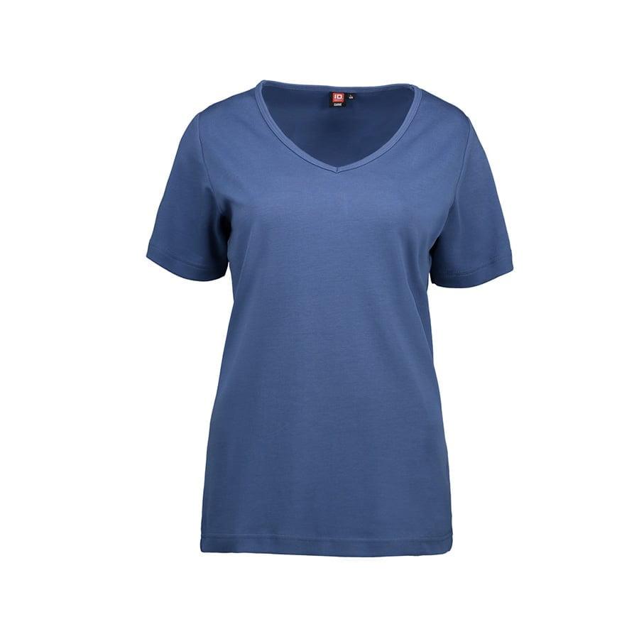 Damska koszulka z interlocku V-Neck