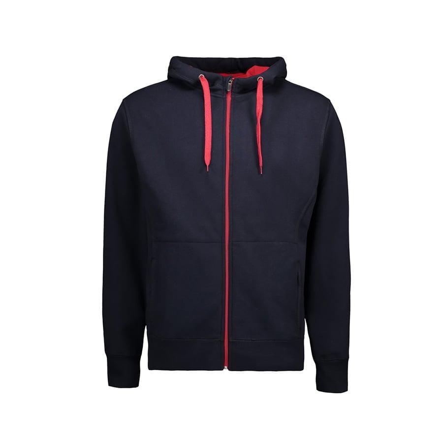 Bluzy - Męska rozpinana bluza z kapturem - ID Identity 0630 - Navy - RAVEN - koszulki reklamowe z nadrukiem, odzież reklamowa i gastronomiczna