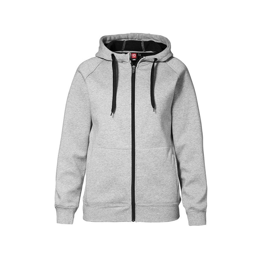 Bluzy - Damska rozpinana bluza z kapturem - ID Identity 0631 - Grey Melange - RAVEN - koszulki reklamowe z nadrukiem, odzież reklamowa i gastronomiczna