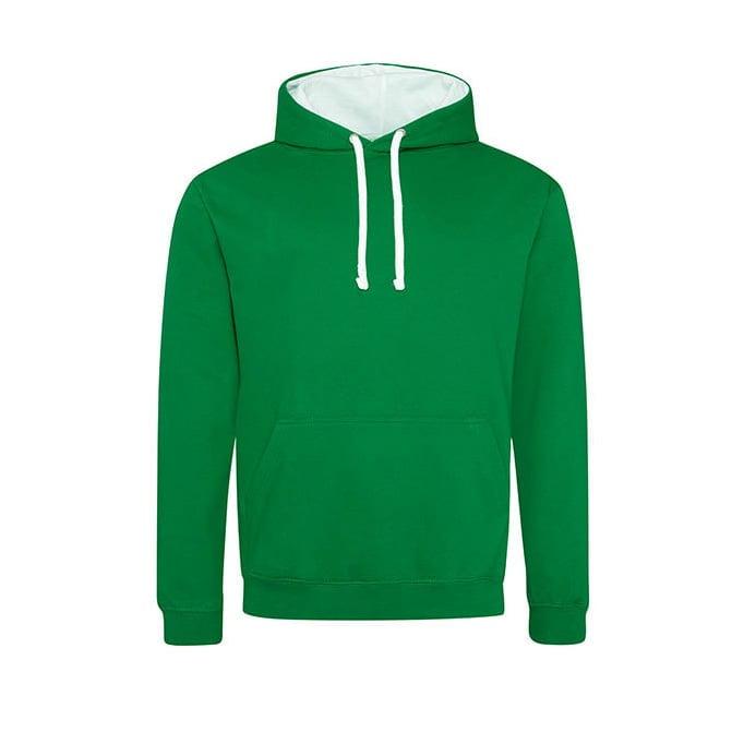 Bluzy - Bluza z kapturem Varsity Hoodie - Just Hoods JH003 - Kelly Green/Arctic White - RAVEN - koszulki reklamowe z nadrukiem, odzież reklamowa i gastronomiczna