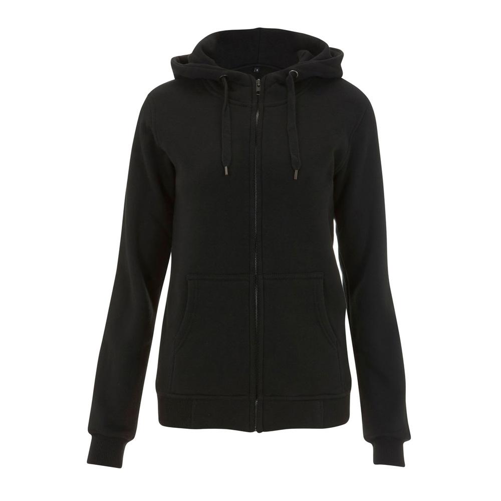 Bluzy - Damska Bluza z Zamkiem High Neck N54Z - BL - Black - RAVEN - koszulki reklamowe z nadrukiem, odzież reklamowa i gastronomiczna