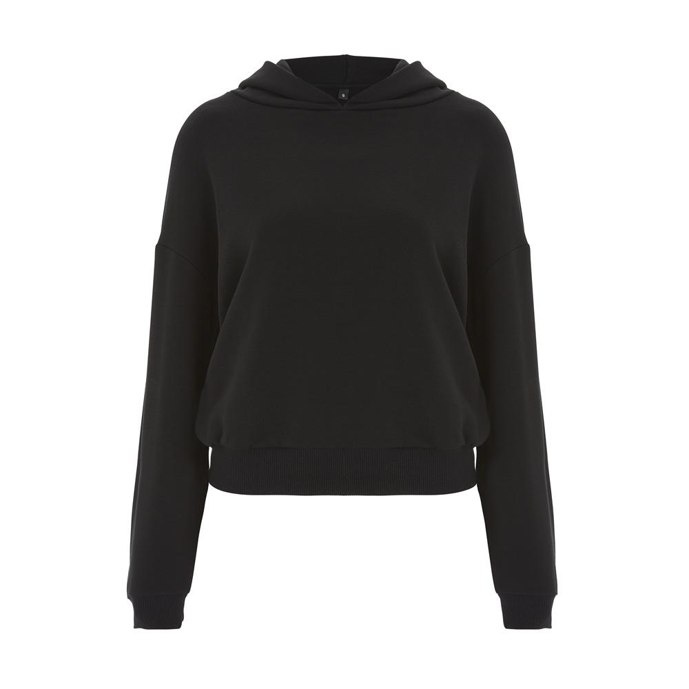 Bluzy - Damska Bluza Cropped N57P - BL - Black - RAVEN - koszulki reklamowe z nadrukiem, odzież reklamowa i gastronomiczna