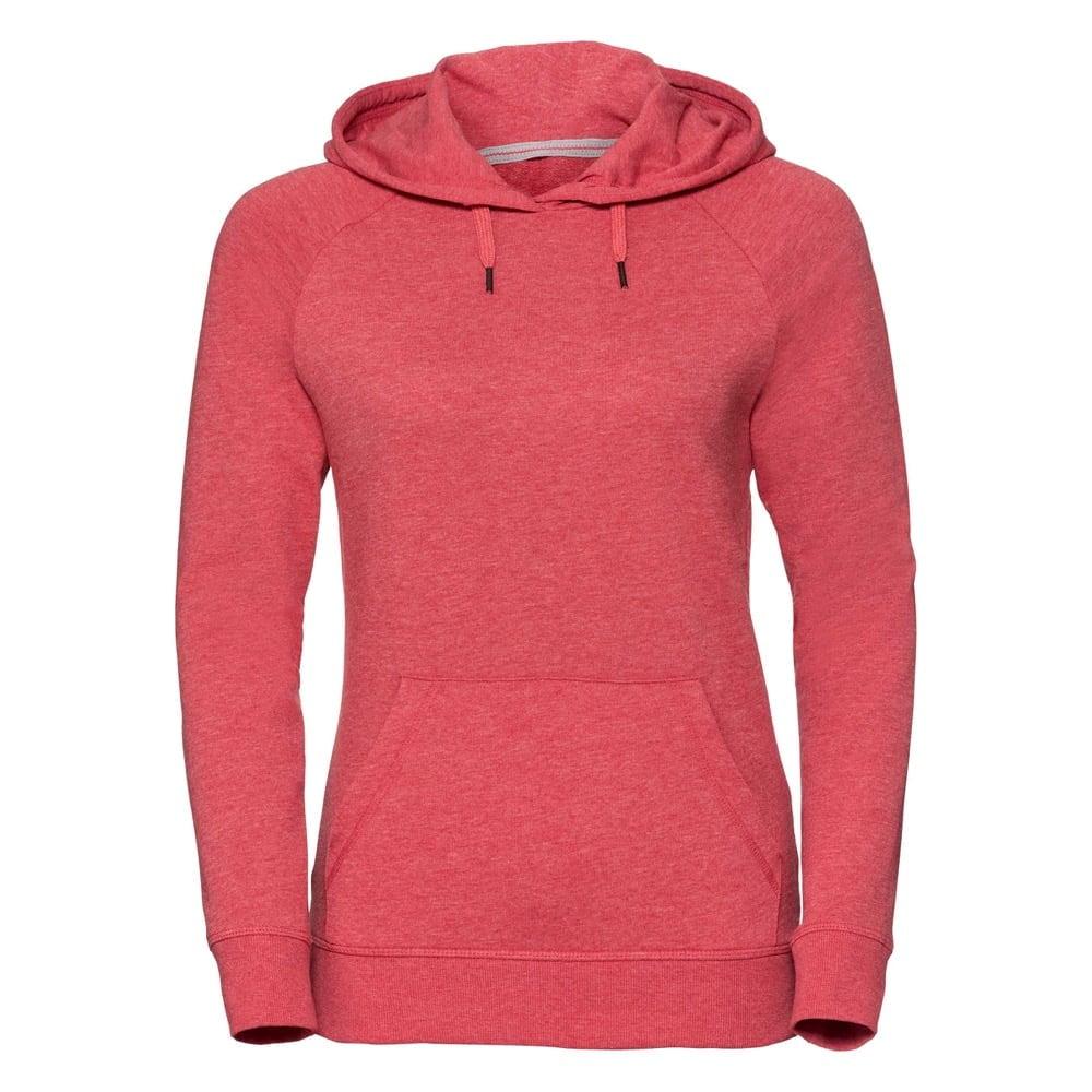 Bluzy - Damska bluza z kapturem HD -  R-281F-0 - Red Marl - RAVEN - koszulki reklamowe z nadrukiem, odzież reklamowa i gastronomiczna