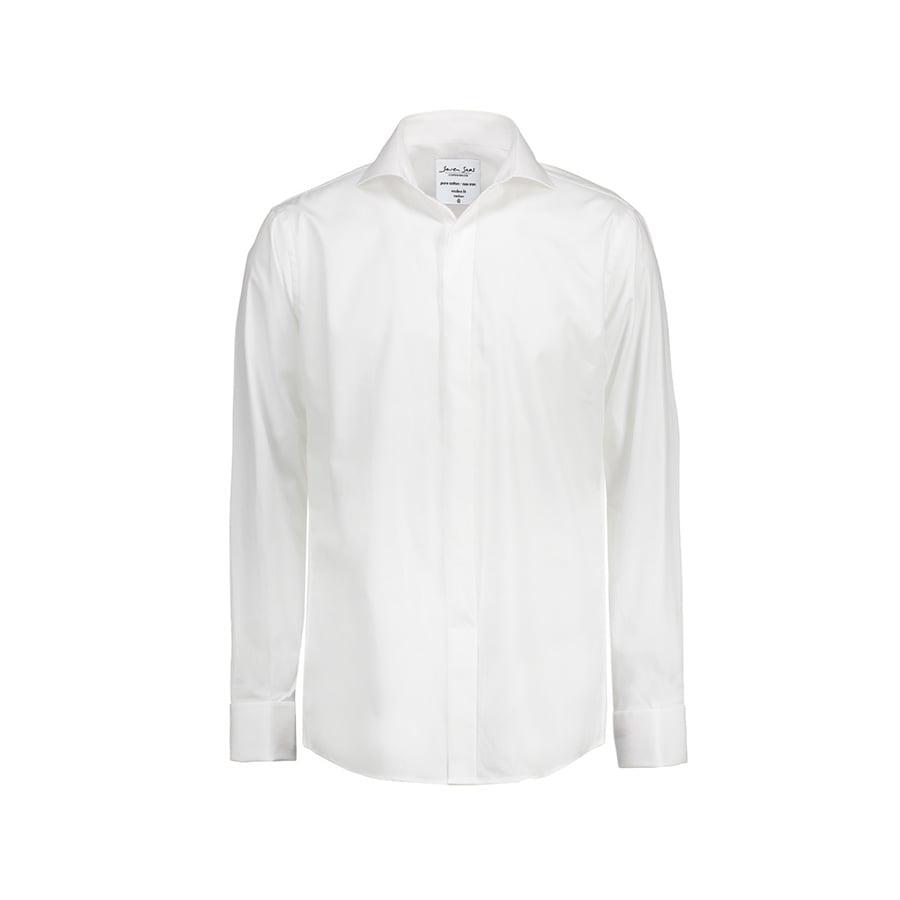 Elegancka popelinowa koszula z rękawami na spinki SS160