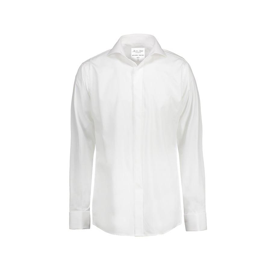 Elegancka popelinowa koszula z długimi rękawami na spinki SS161