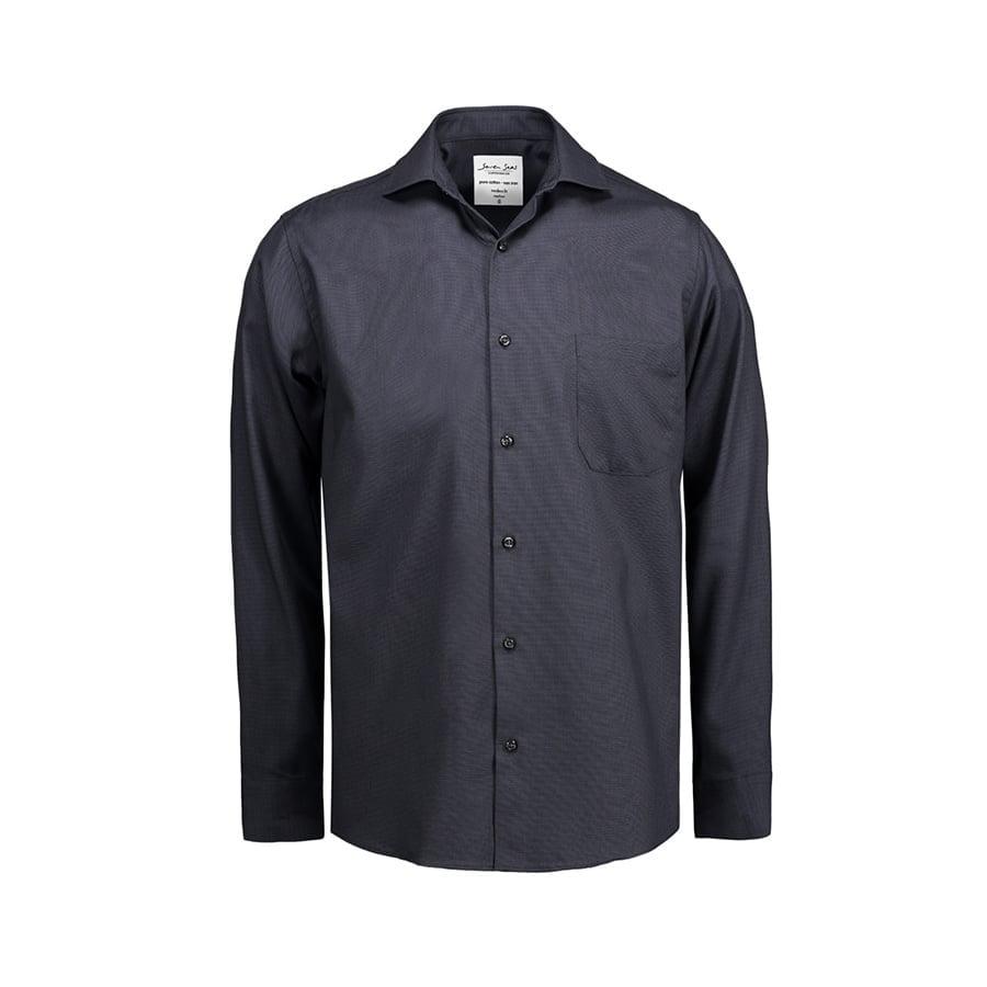Koszule i bluzki - Elegancka koszula biznesowa z tkaniny Oxford Modern Fit SS310 - Seven Seas SS310 - Black - RAVEN - koszulki reklamowe z nadrukiem, odzież reklamowa i gastronomiczna