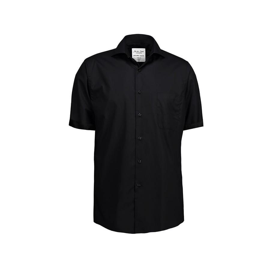 Koszule i bluzki - Prosta i klasyczna koszula z miękkiej popeliny SS410 - Seven Seas SS410 - Black - RAVEN - koszulki reklamowe z nadrukiem, odzież reklamowa i gastronomiczna