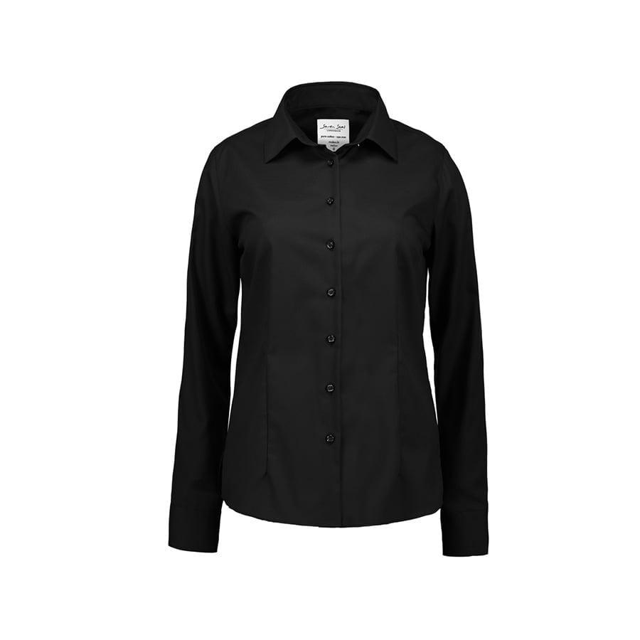 Koszule i bluzki - Biznesowa bluzka z tkaniny fine twill z wykończeniem non iron SS720 - Seven Seas SS720 - Black - RAVEN - koszulki reklamowe z nadrukiem, odzież reklamowa i gastronomiczna