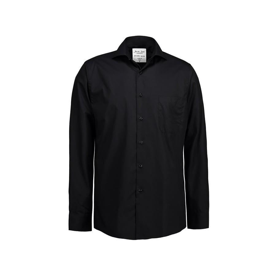Koszule i bluzki - Prosta i klasyczna koszula z miękkiej popeliny SS7 - Seven Seas SS7 - Black - RAVEN - koszulki reklamowe z nadrukiem, odzież reklamowa i gastronomiczna