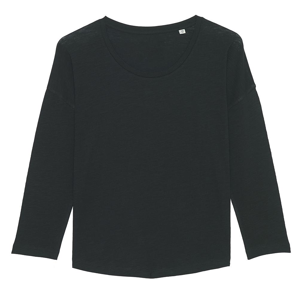 Koszulki T-Shirt - Damski t-shirt Stella Waver Slub - STTW114 - Black - RAVEN - koszulki reklamowe z nadrukiem, odzież reklamowa i gastronomiczna